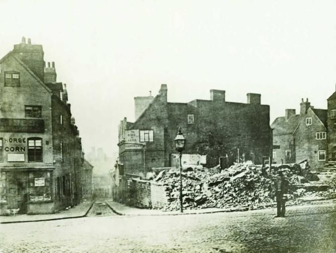 © Picture The Past Demolising Sheep Lane to make way for Market Street