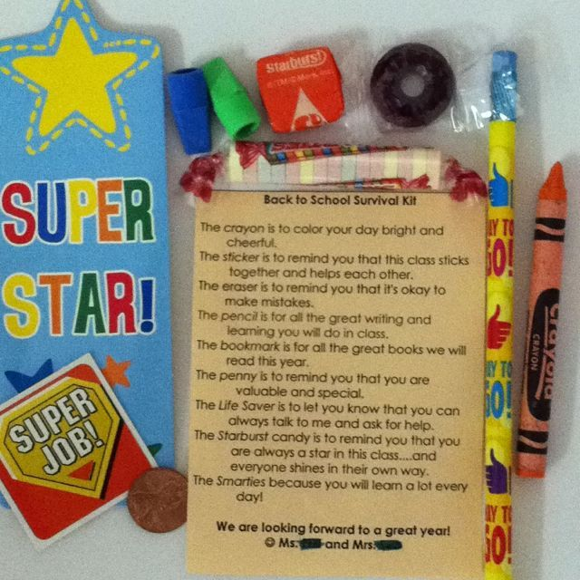 Back to School Survival Kit - put in a cute treat bag and pass out during Open House or have on the student's desk for the first day of school