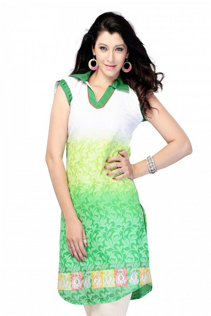 Casual Cap Sleeve Printed Cotton Women's Kurti
