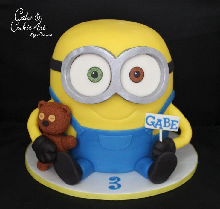 Minion Bob cake and his teddy bear