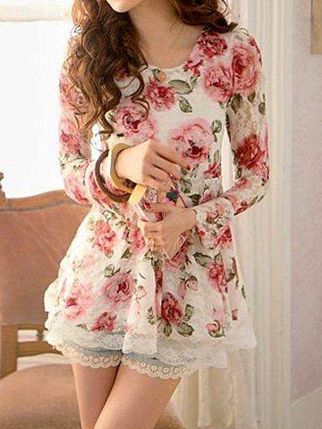 Cute Scoop Neck Floral Print Long Sleeve Women's Lace Blouse