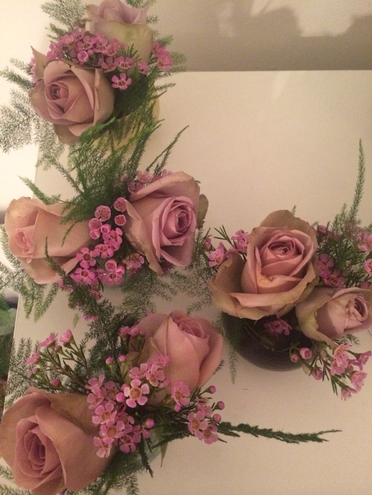 Amnesia rose, pink wax flower & asparagus fern buttonholes x 8 #langlittle wedding. Flowers by The Bloomsmith