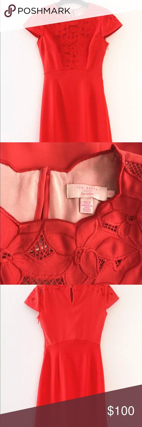 Ted Baker floral embellished true red dress Worn once, like brand new! Ted Baker Dresses Midi