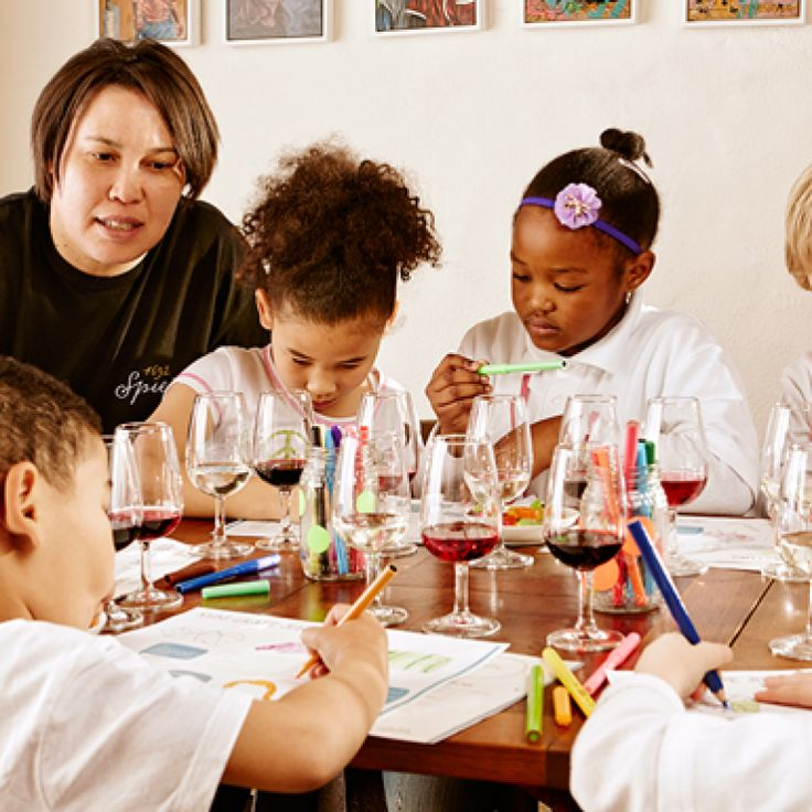 Kids can sip on juice while you sip on wine. Fun for all!