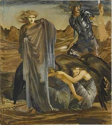 1888-1892 'The Finding of Medusa' by Edward Burne-Jones - The 'Perseus' Series. Oil on canvas.
