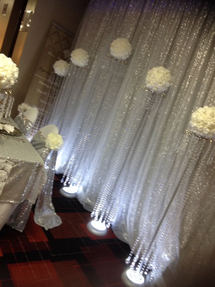 Sequins, silver & white, wedding backdrop, bridal table ideAs, wedding lighting, crystal stands, crystal centrepieces