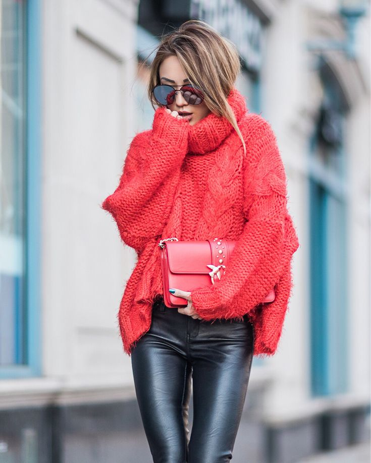 Red pullover and false leather leggings