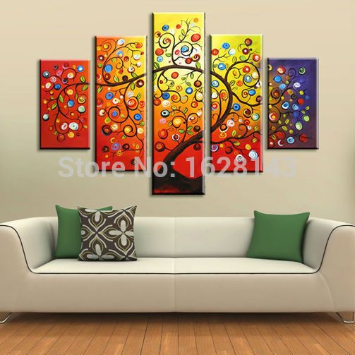 Free-Shipping-5-Pieces-Tree-Oil-Painting-On-Canvas-Hand-Painted-Dancing-Apple-Trees-Modern-Decoration.jpg (503×503)