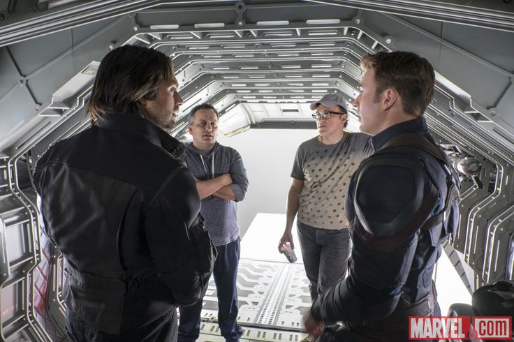 Stars Sebastian Stan & Chris Evans with the directors on the set of Marvel's 'Captain America: Civil War,' in theaters May 6!