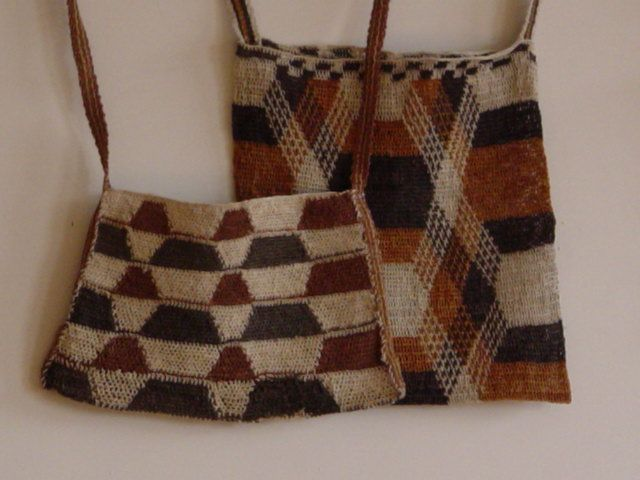 Bags made from the Chaguar plant fibers, by the Wichi tribe of NE Argentin,a in the region of Formosa.