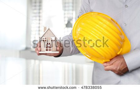 Hands with house and work helmet, safety and construction concept