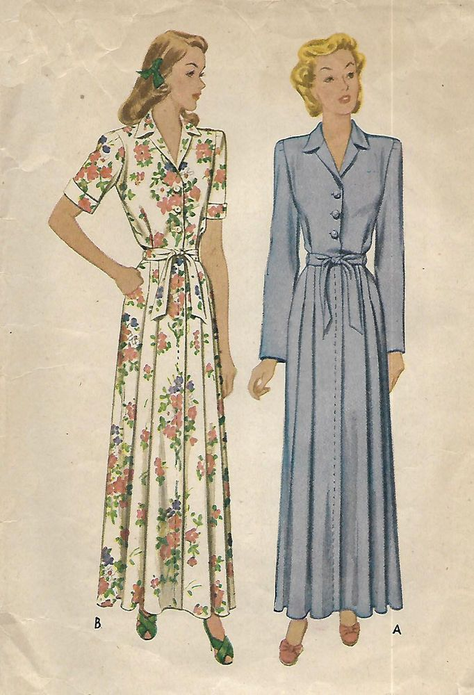Vintage 1940 S Sewing Pattern Women S House Coat Robe Dressing Gown Bust 34 Crafts Sewing Sew In 2020 Womens Sewing Patterns House Dress Womens Clothing Patterns