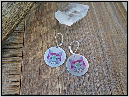 GEO CAT, SUBLIMATION GRAPHIC PRINTED EARRINGS
