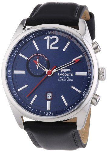 Lacoste  Austin - Reloj de cuarzo para hombre, con correa de cuero, color negro #reloj #lacoste