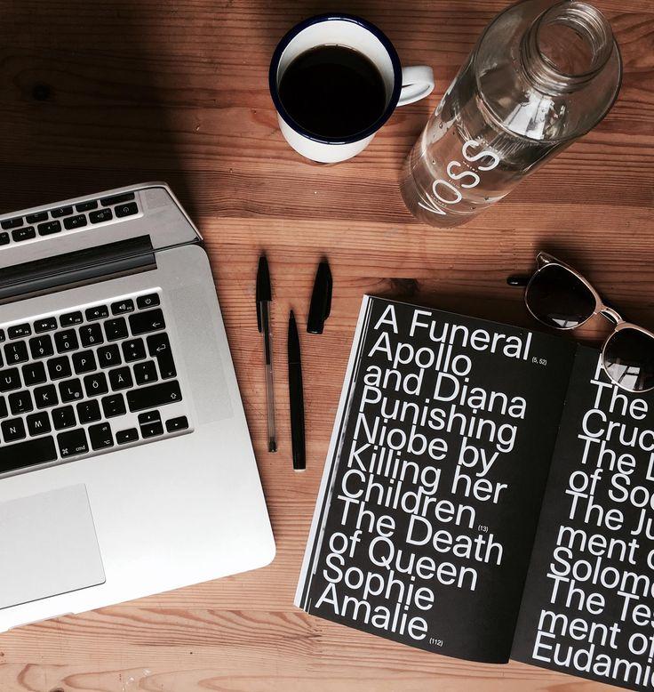 Graphic Designer's Desk  . . . #coffee #wood #woodtexture #texture #rustic #voss #water #designbolaget #book #magazine #brochure #layout #typography #laptop #design #designer #photography #layout