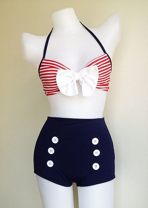 Vtg 50s Bettie Women Two Piece Bikini in Navy by beautychicshop