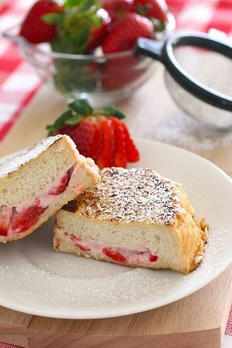 Strawberry Stuffed French Toast.Valentine'S Day, Strawberries Stuffed, Eggs White, Breakfast In Bed, French Toast Recipe, Coconut Cream, Stuffed French Toast, Greek Yogurt, Cream Cheeses