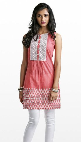 Pink with White Embroidery Cotton Kurti (with attachable sleeves) | Naari