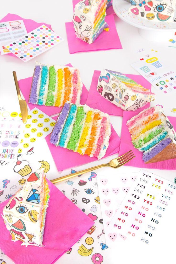 DIY Rainbow Sticker Cake