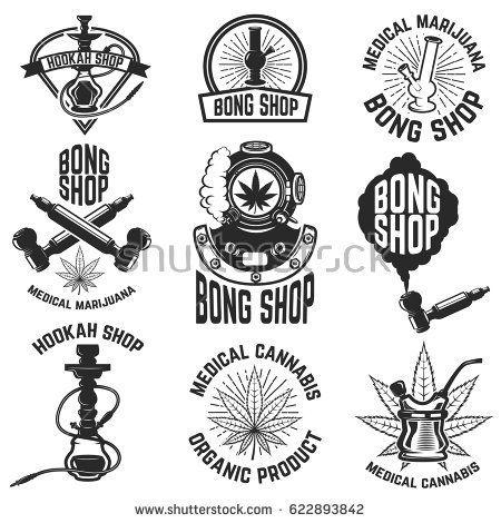 Hookah shop. Bong shop. Cannabis. Images for logo, label, emblem, sign, poster. Vector illustration.