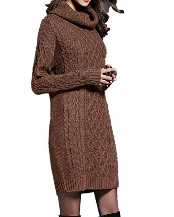 24aa78307e Sorrica Women s Turtleneck Cable Knit Long Sleeve Tunic Pullover Sweater  Dress Top at Amazon Women s Clothing store
