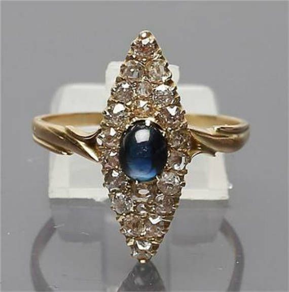 Art Deco Russian Ring, Diamond Ring, Sapphire Cabochon, Marquise, 18K Yellow Gold, Vintage Jewelry SPRING SALE