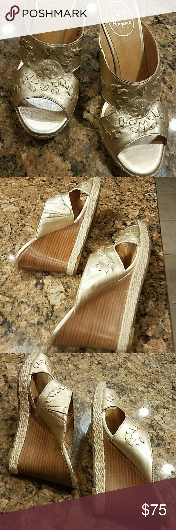 Jack Rogers Sophia Wedges New, unworn, perfect condition, size 7, Jack Rogers  leather sandles, color is Platinum , looks goldish to me Jack Rogers Shoes