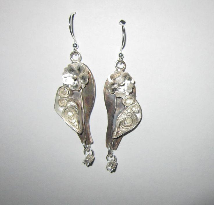 Earrings, Art Clay Silver Paper Quilling, by Cris Briz