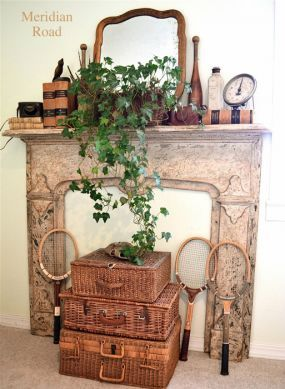 Everything here (except for the mantel itself) was inherited, found at estate sales, thrift and junk stores, or was a gift.: Work Fireplaces, Refurbished Ideas, Tennis Racket, Decor Ideas, Stuff, Repurposed Ideas, Neat Ideas, Great Ideas, Fire Places