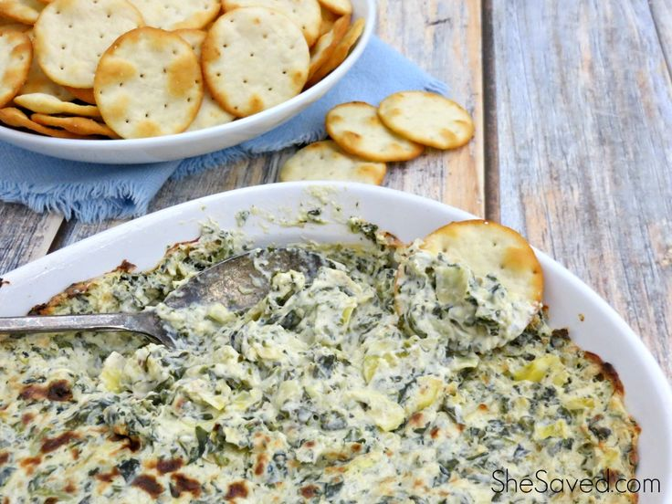 I love this easy appetizer recipe for game day or when you're having company. Get the scoop (get it?) on my Hot Spinach and Artichoke Dip Recipe! Yum!