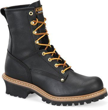 """Carolina Men's 8"""" Black Logger Work Boots - HeadWest Outfitters"""