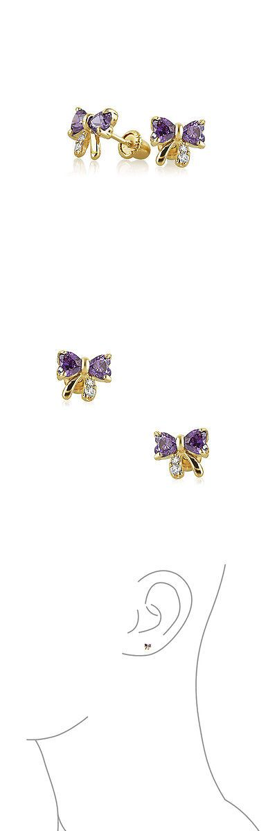 Earrings 98476: Bling Jewelry Purple Cz Bow Baby Screw Back Earrings 14K Gold -> BUY IT NOW ONLY: $64.99 on eBay!