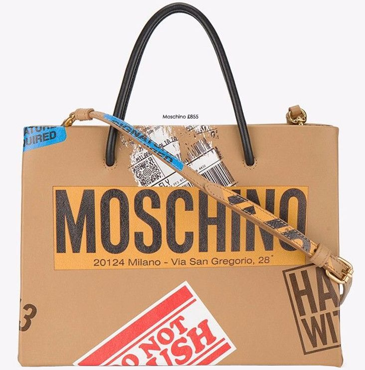 Say to our latest bag arrival: Moschino's leather sticker motif tote bag is a piece you'll want to handle with care. Show this cute handbag off with off-duty daytime attire SHOP THE BAG at STILORAMA.COM