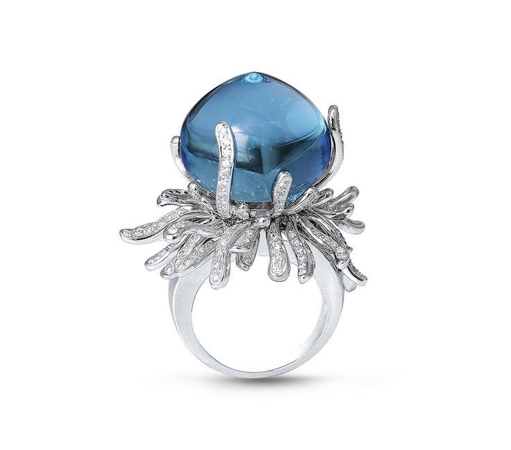 Farah Khan diamond aquamarine Seaweed ring.