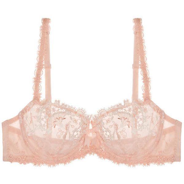 Simone Perele Wish Demi Cup Bra ($53) ❤ liked on Polyvore featuring intimates, bras, blush, bra, simone perele, demi bra, demi cup bra, mesh bra and lingerie bras