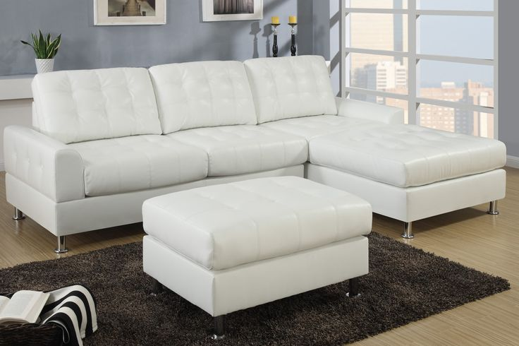A regal design of classic dimensions, this sectional upholstered in cream bonded leather features tufting from backrest to seat cushions blending in with a modern décor. Its frame is supported by shiny silver legs with rounded flat ends. Sectional Sofa Sale for $1200