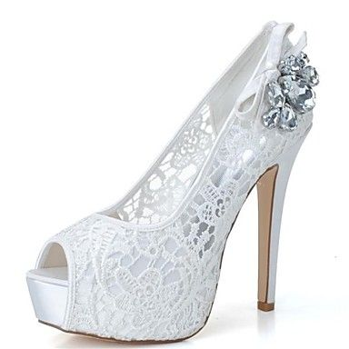 Women's Shoes Platform Peep Toe Stiletto Heel Lace Pumps Wedding Shoes More Colors available – USD $ 44.99