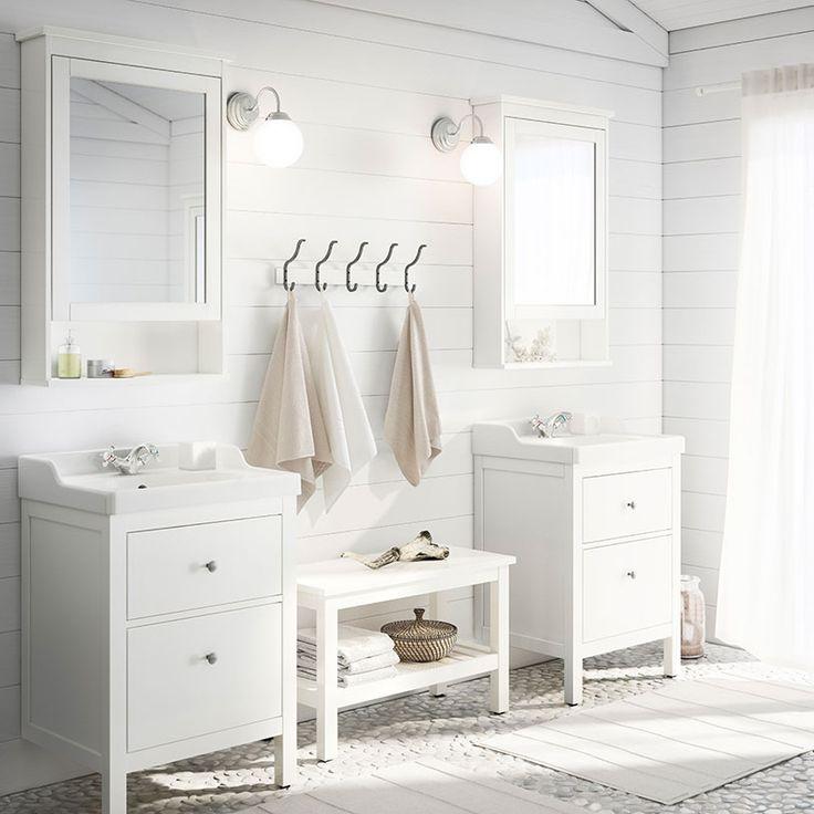 Meuble lavabo HEMNES/RÄTTVIKEN blanc avec deux tiroirs et armoire à miroir HEMNES SOL!