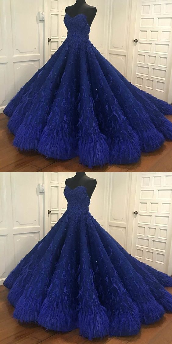 Awesome Luxury Royal Blue Sweetheart A-Line Prom Dresses,Beaded Feather Ball Gown,Sweet …