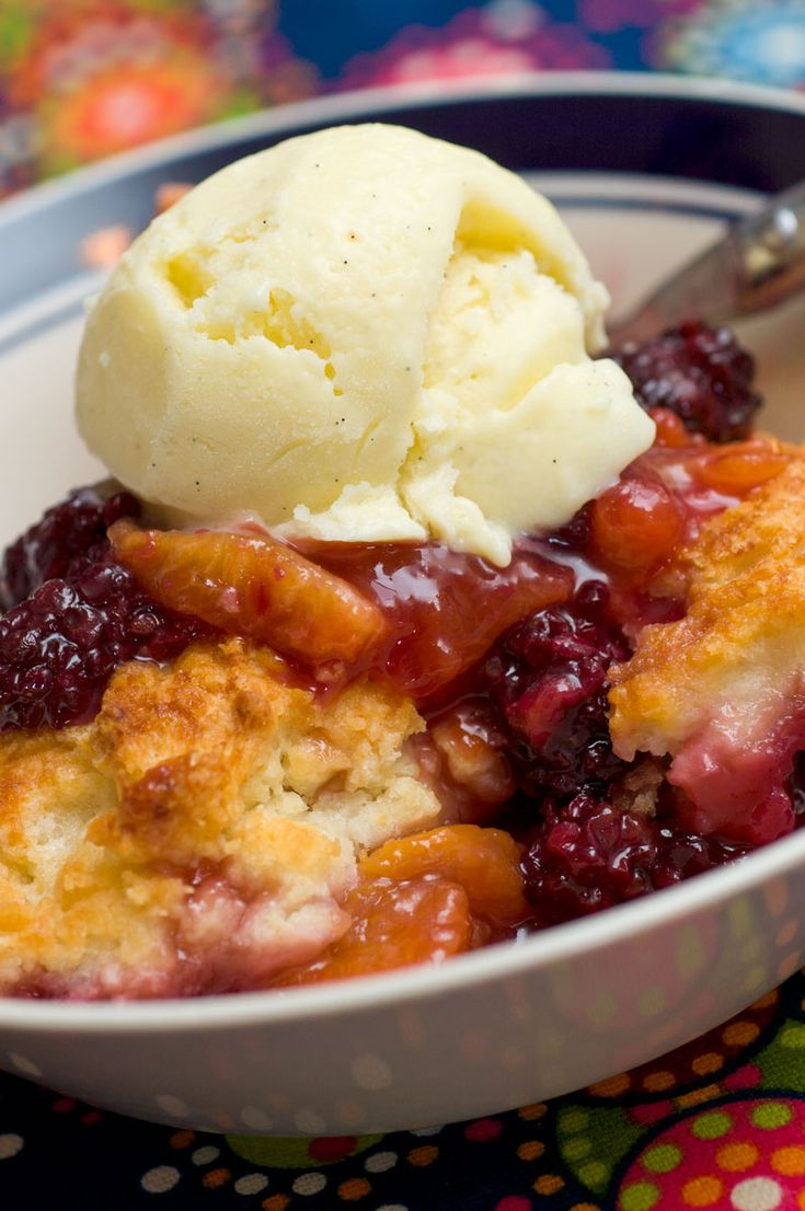 Blackberry Peach Cobbler...sooo yummy!! Top it off with some vanilla ice cream for a delicious dessert!