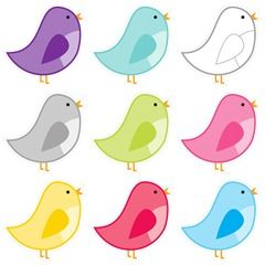 Schoolgirl Style birds 6 inch and 10 inch www.schoolgirlstyle.com Colorful classroom birds