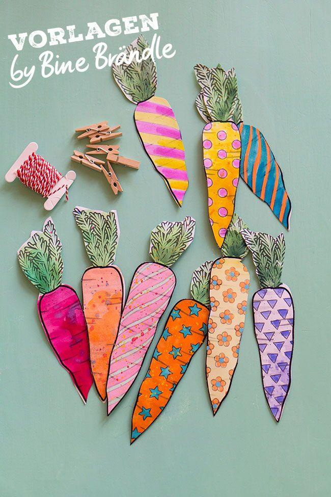 Lustige bunte Karotten oder niedliche bunte Osterhasen ganz einfach selber baste… – Bine Brändle, Autorin und Illustratorin von Kreativ- und Kinderbüchern
