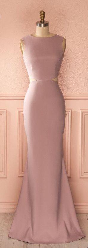 Dusty Rose Prom Dress,Mermaid Prom Dress,Midriff Prom Dress,Fashion