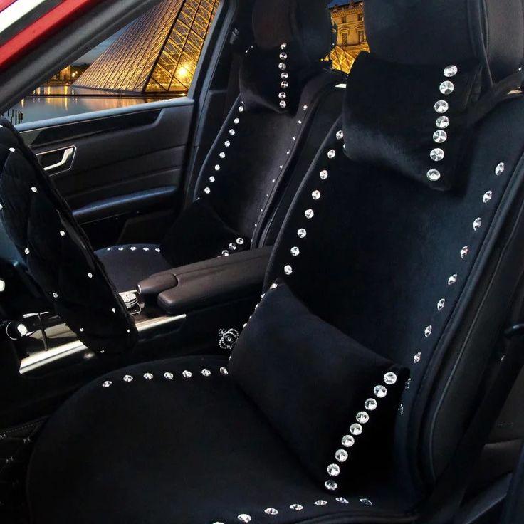 Black Decorative Velvet Pillows With Bling Rhinestones For Cars
