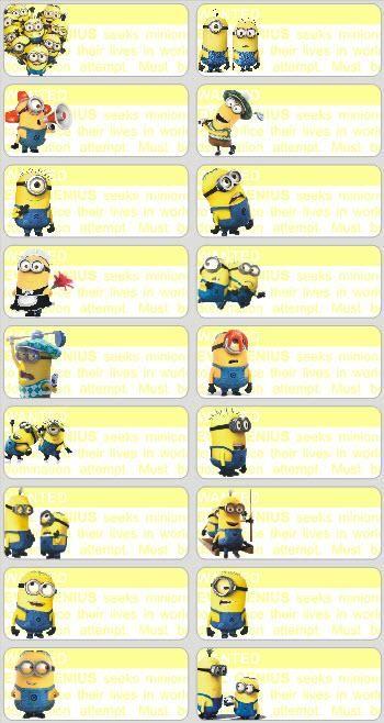Minions+Names | Fancy name stickers, 52pcs - Minions (Kuala Lumpur, end time…