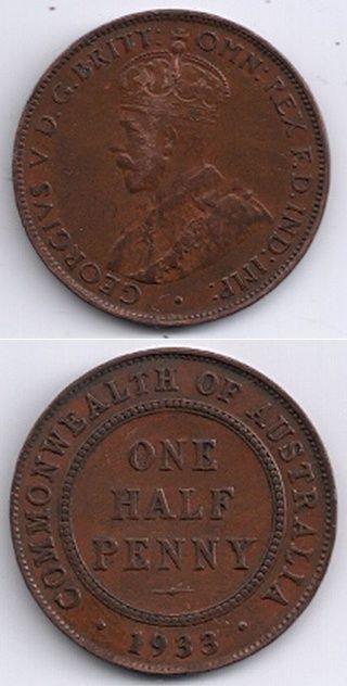 King George V 1933 half penny