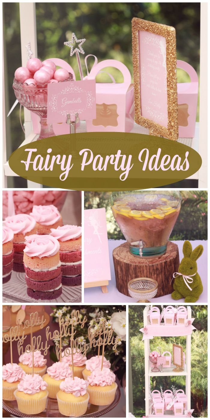 A fairy party with sparkling gold and pink ideas, like cupcakes, ombre cakes, star wands and more.  See more party ideas at CatchMyParty.com!