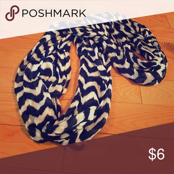 Navy and White Chevron Infinity Scarf Navy and White Chevron Infinity Scarf. Charming Charlie brand.... worn only once. Charming Charlie Accessories Scarves & Wraps