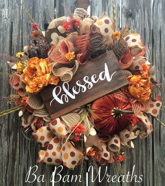 Fall Wreath, Fall Decor, Autumn Wreath, Autumn Decor, Halloween Wreath, Burlap Wreath, Scarecrow Wreath, Scarecrow Decor, Pumpkin Wreath, Pumpkin Decor Blessed! WOW~ what an Autumn Beauty! A rustic mix of burgundy, burnt orange, burlap and brown makes such an inviting statement for Fall! Made on a wired frame and filled with a gorgeous assortment of burlaps, rustic orange/brown/cream white mesh ruffles, brown polka dot ribbons, Fall florals, a large velvet pumpkin, a crackled brown pumpkin…