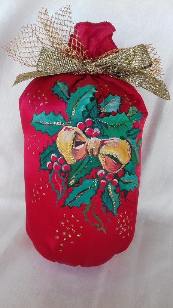 Sacchetto in raso rosso dipinto a mano, by Il Meraviglioso Mondo di Artemisia, 25,00 € su misshobby.com
